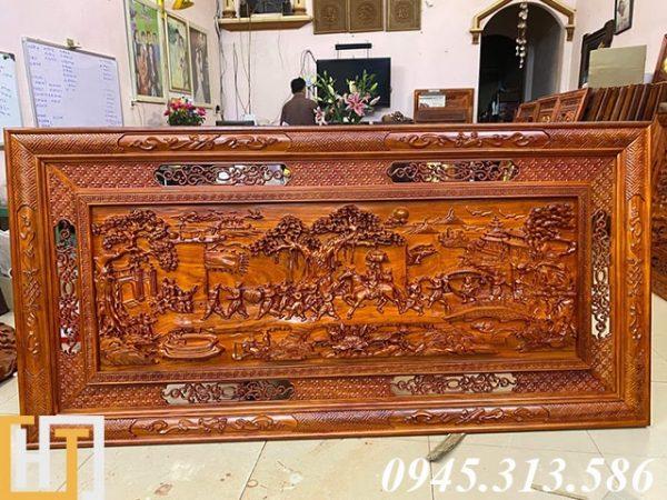 tranh gỗ vinh quy bái tổ gỗ hương dài 1m97 rộng 97cm gỗ dày 4,5cm
