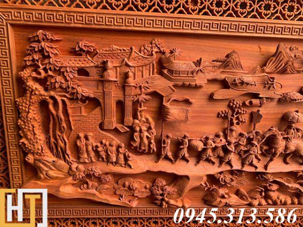 Tranh gỗ vinh quy bái tổ đẹp loại VIP dài 2m37 4
