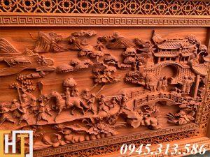 Tranh gỗ vinh quy bái tổ đẹp loại VIP dài 2m37 13