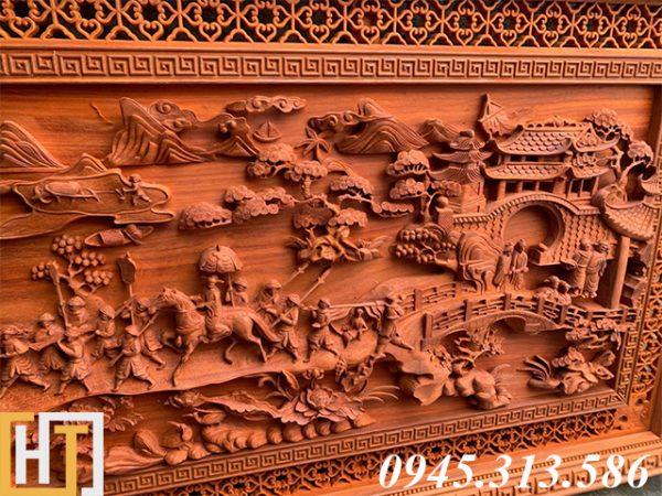 Tranh gỗ vinh quy bái tổ đẹp loại VIP dài 2m37 5