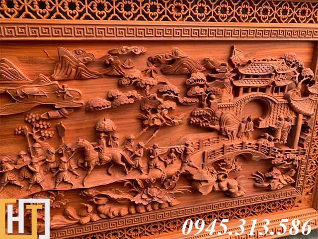 Tranh gỗ vinh quy bái tổ đẹp loại VIP dài 2m37 19