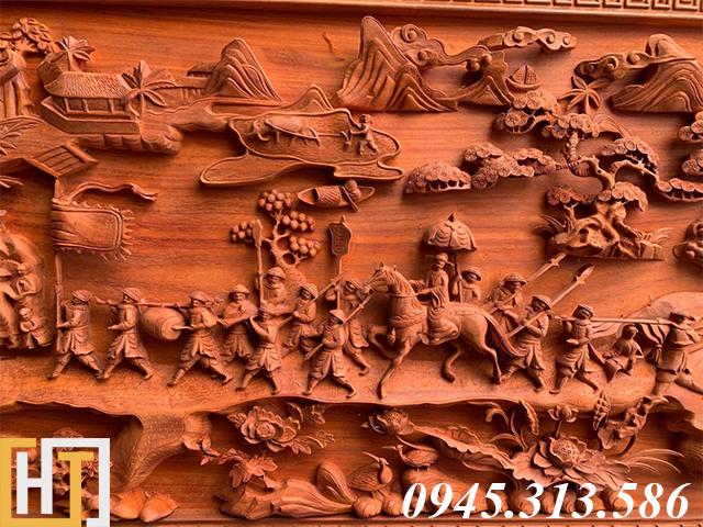 Tranh gỗ vinh quy bái tổ đẹp loại VIP dài 2m37 20