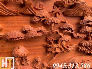 Tranh gỗ vinh quy bái tổ đẹp loại VIP dài 2m37 15