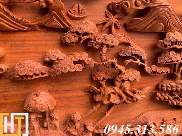 Tranh gỗ vinh quy bái tổ đẹp loại VIP dài 2m37 7
