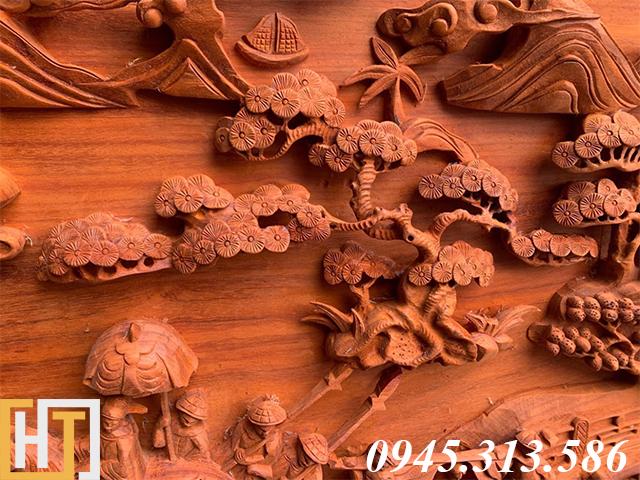 Tranh gỗ vinh quy bái tổ đẹp loại VIP dài 2m37 24