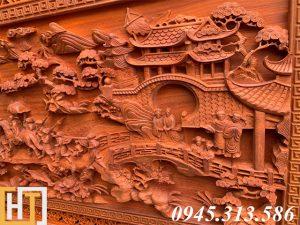 Tranh gỗ vinh quy bái tổ đẹp loại VIP dài 2m37 16