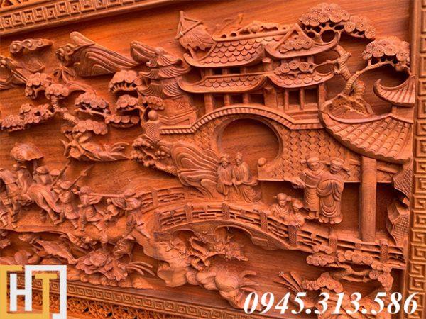 Tranh gỗ vinh quy bái tổ đẹp loại VIP dài 2m37 8
