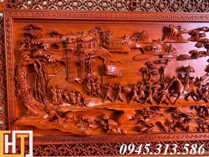 Tranh gỗ vinh quy bái tổ đẹp loại VIP dài 2m37 9