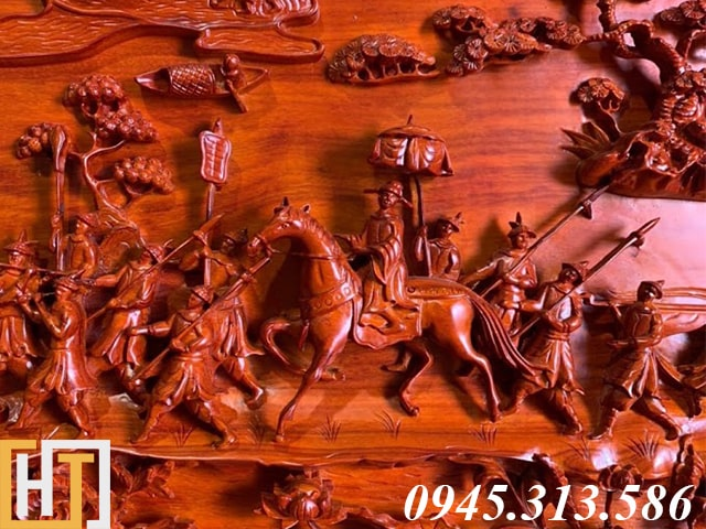 Tranh gỗ vinh quy bái tổ đẹp loại VIP dài 2m37 21