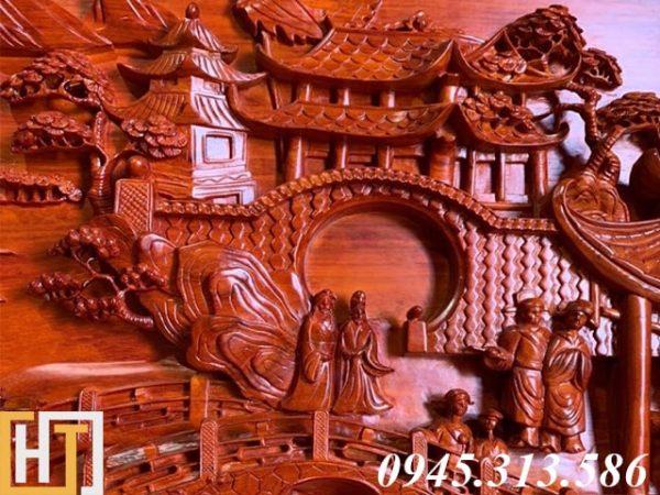 Tranh gỗ vinh quy bái tổ đẹp loại VIP dài 2m37 3