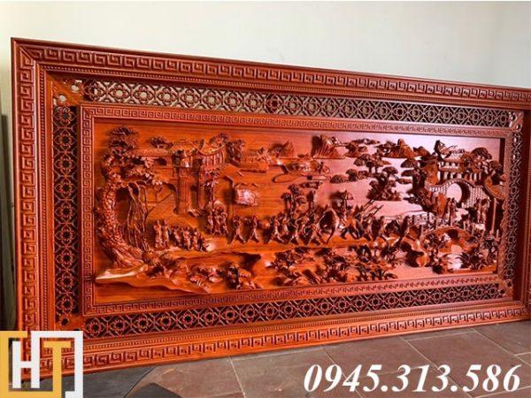 tranh gỗ vinh quy bái tổ dài 2m37 đục kênh bong tỷ mỷ sắc nét sơn hoàn thiện PU