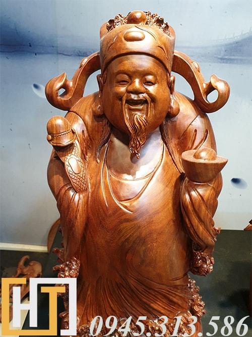 diện tượng thần tài gỗ hương ta nguyên khối