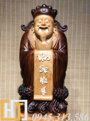 diện tượng thần tài gỗ pơmu nguyên khối