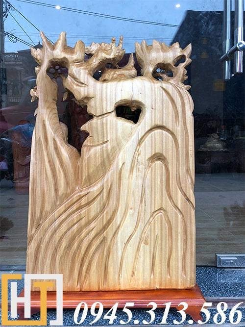 mặt sau tượng phúc lộc thọ gỗ xá xị nguyên khối
