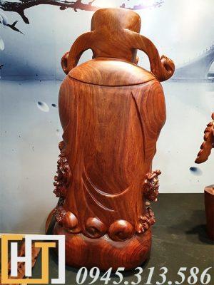Tượng thần tài gỗ hương ta nguyên khối cao 62cm 2