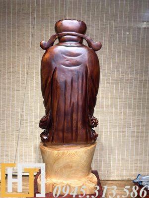 mặt sau tượng thần tài gỗ pơmu nguyên khối