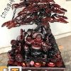 tượng phật di lặc ngồi gốc tùng gỗ trắc đỏ đen