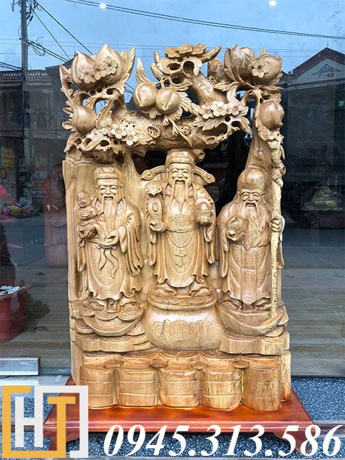 tượng phúc lộc thọ gỗ xá xị nguyên khối