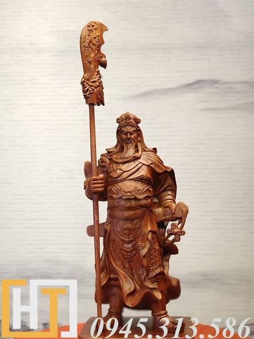 tượng quan công trung nghĩa gỗ hương ta nguyên khối