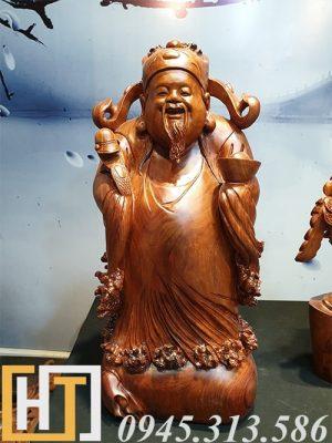 tượng thần tài gỗ hương ta nguyên khối