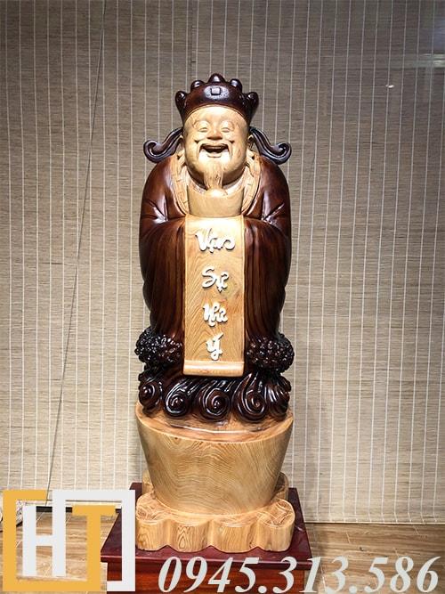 tượng thần tài gỗ pơmu nguyên khối