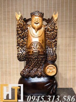 tượng thần tài nghênh hỷ gỗ pơmu