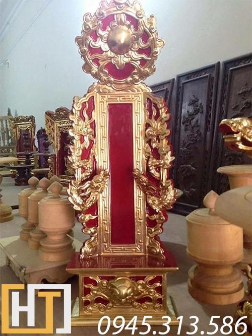 bài vị thờ gia tiên gỗ mít sơn son thếp vàng đục tay sắc nét