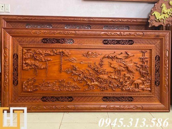 tranh cửu hạc du xuân gỗ hương đỏ nguyên tấm dài 1m97 cao 97cm dày 5cm