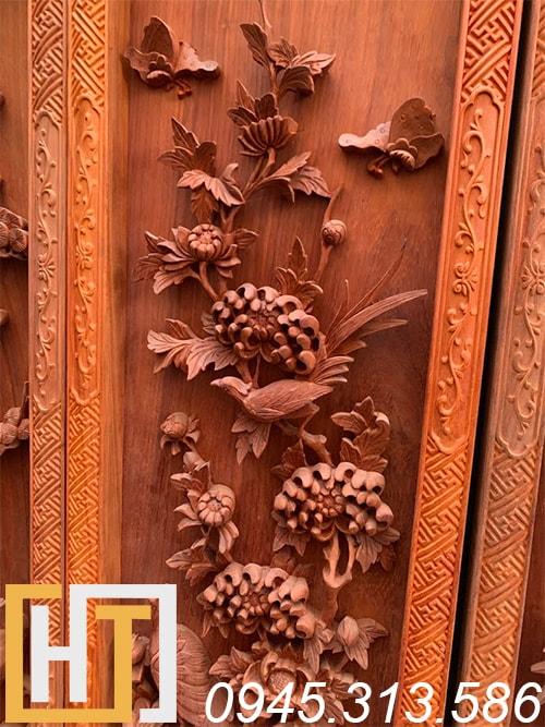 Tranh tứ quý vip gỗ hương 42x127x6 2