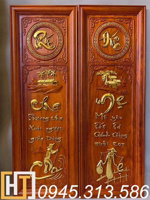 tranh gỗ cha mẹ phúc đức gỗ hương đỏ thếp vàng