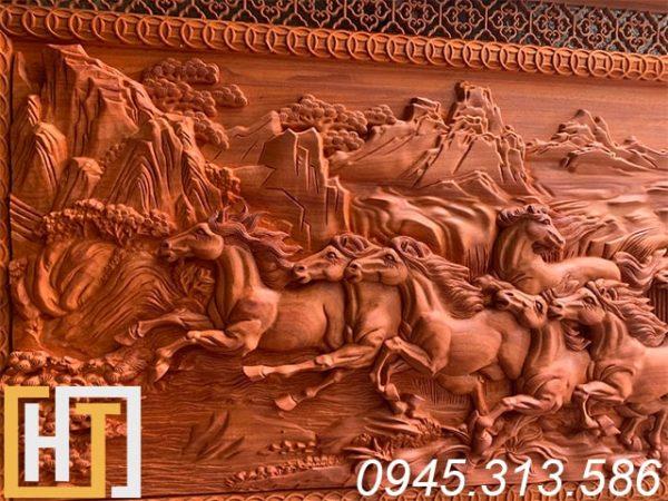Tranh gỗ mã đáo thành công gỗ hương đỏ 2
