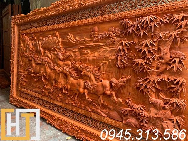 Tranh gỗ mã đáo thành công gỗ hương đỏ 7