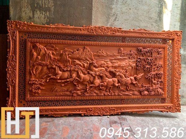 tranh gỗ mã đáo thành công đẹp gỗ hương đỏ