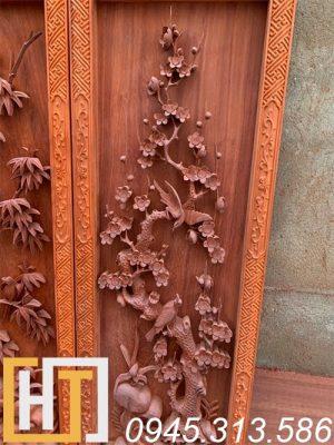 Tranh tứ quý vip gỗ hương 42x127x6 8