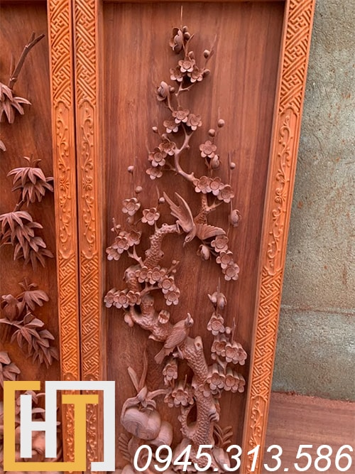 Tranh tứ quý vip gỗ hương 42x127x6 4