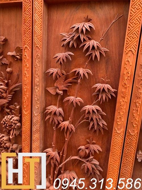 Tranh tứ quý vip gỗ hương 42x127x6 3