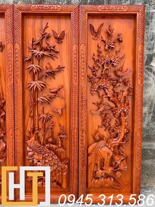 bức trúc mai gỗ hương ngang 37 cao 117 dày 5,5