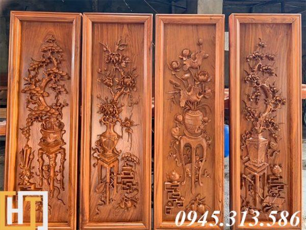 tranh tứ bình gỗ hương đá rộng 42cm cao 1m27 gỗ dày 5cm