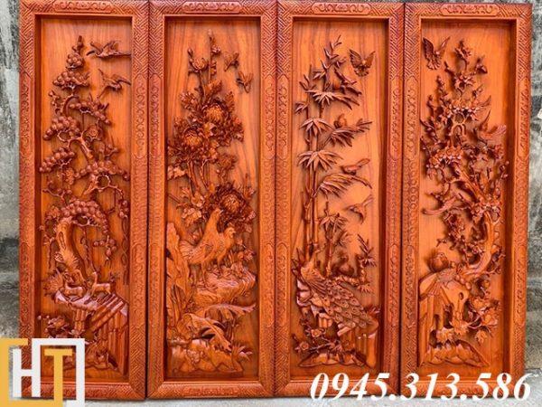 tranh tứ quý gỗ hương đỏ nam phi kích thước ngang 37 cao 1m17 gỗ dày 5,5cm