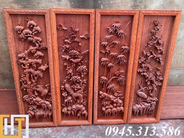 tranh tứ quý gỗ hương đỏ ngang 42cm cao 1m27 dày 6cm