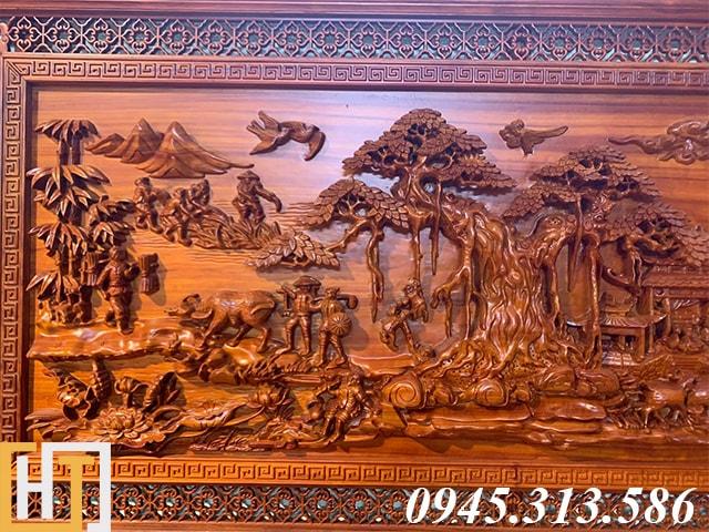 Tranh đồng quê bằng gỗ dài 2m17 3
