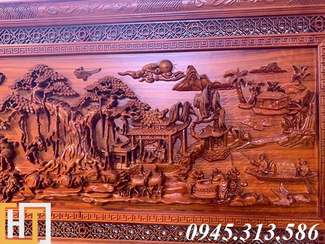 Tranh đồng quê bằng gỗ dài 2m17 2