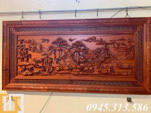 tranh đồng quê bằng gỗ hương đỏ dài 2m17 x 1m07 x6cm