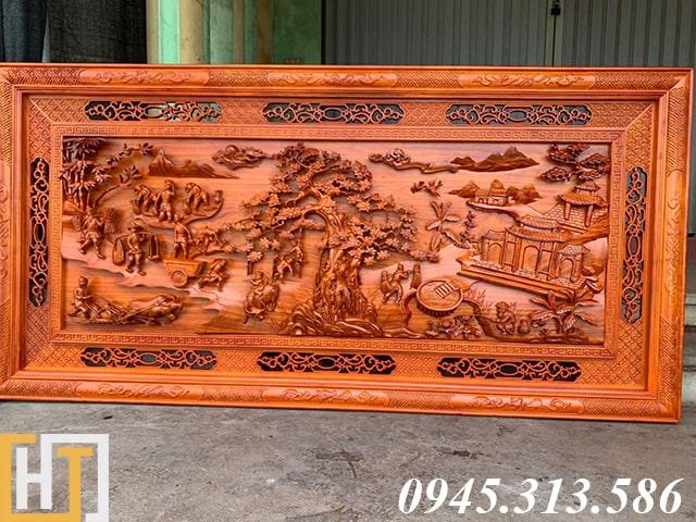 tranh gỗ đồng quê khổ lớn dài 2m37