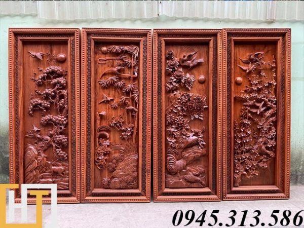tranh tứ quý gỗ hương đá loại đẹp